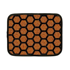 Hexagon2 Black Marble & Rusted Metal Netbook Case (small)  by trendistuff