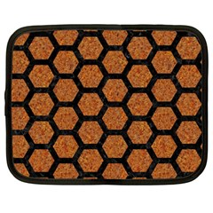 Hexagon2 Black Marble & Rusted Metal Netbook Case (large) by trendistuff