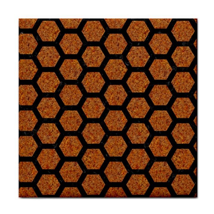 HEXAGON2 BLACK MARBLE & RUSTED METAL Face Towel