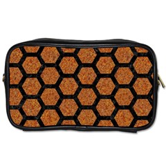 Hexagon2 Black Marble & Rusted Metal Toiletries Bags by trendistuff