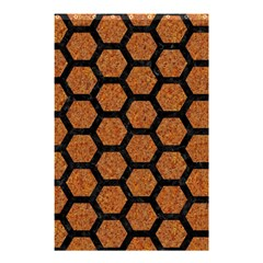 Hexagon2 Black Marble & Rusted Metal Shower Curtain 48  X 72  (small)  by trendistuff