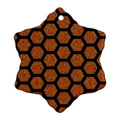 Hexagon2 Black Marble & Rusted Metal Snowflake Ornament (two Sides)