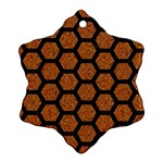 HEXAGON2 BLACK MARBLE & RUSTED METAL Snowflake Ornament (Two Sides) Front