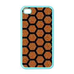 Hexagon2 Black Marble & Rusted Metal Apple Iphone 4 Case (color) by trendistuff