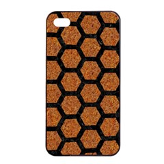 Hexagon2 Black Marble & Rusted Metal Apple Iphone 4/4s Seamless Case (black) by trendistuff
