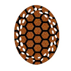 Hexagon2 Black Marble & Rusted Metal Ornament (oval Filigree) by trendistuff