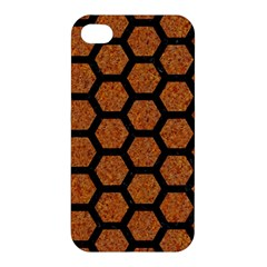 Hexagon2 Black Marble & Rusted Metal Apple Iphone 4/4s Hardshell Case by trendistuff