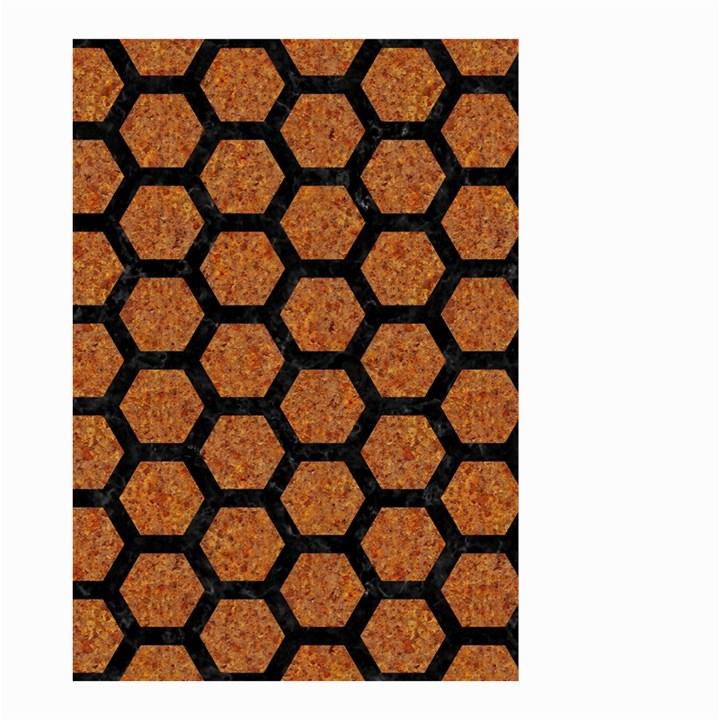 HEXAGON2 BLACK MARBLE & RUSTED METAL Small Garden Flag (Two Sides)