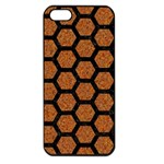 HEXAGON2 BLACK MARBLE & RUSTED METAL Apple iPhone 5 Seamless Case (Black) Front