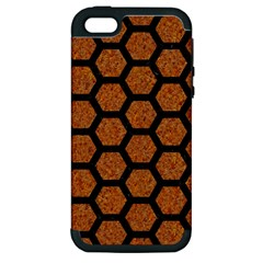 Hexagon2 Black Marble & Rusted Metal Apple Iphone 5 Hardshell Case (pc+silicone) by trendistuff