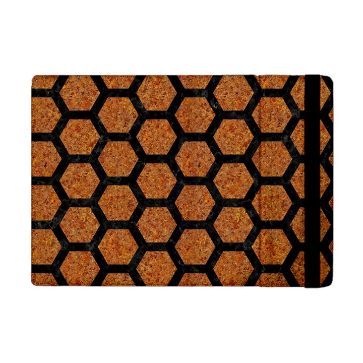 HEXAGON2 BLACK MARBLE & RUSTED METAL Apple iPad Mini Flip Case