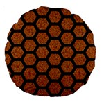 HEXAGON2 BLACK MARBLE & RUSTED METAL Large 18  Premium Round Cushions Front
