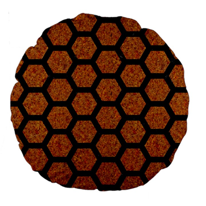 HEXAGON2 BLACK MARBLE & RUSTED METAL Large 18  Premium Round Cushions