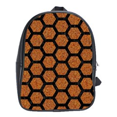 Hexagon2 Black Marble & Rusted Metal School Bag (xl) by trendistuff