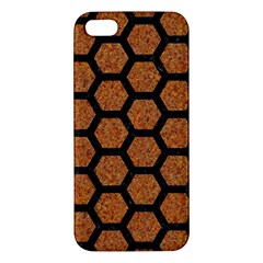 Hexagon2 Black Marble & Rusted Metal Apple Iphone 5 Premium Hardshell Case by trendistuff