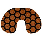 HEXAGON2 BLACK MARBLE & RUSTED METAL Travel Neck Pillows Front