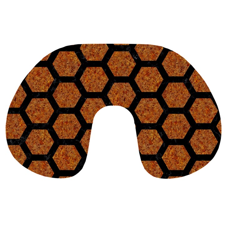 HEXAGON2 BLACK MARBLE & RUSTED METAL Travel Neck Pillows