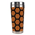 HEXAGON2 BLACK MARBLE & RUSTED METAL Stainless Steel Travel Tumblers Left
