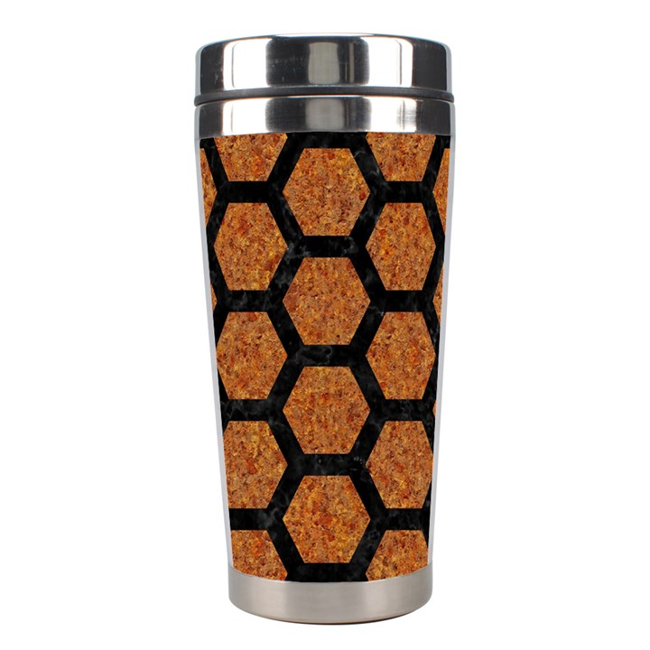 HEXAGON2 BLACK MARBLE & RUSTED METAL Stainless Steel Travel Tumblers