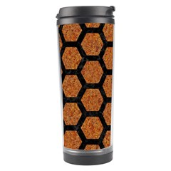 Hexagon2 Black Marble & Rusted Metal Travel Tumbler by trendistuff