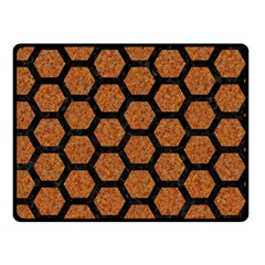 Hexagon2 Black Marble & Rusted Metal Double Sided Fleece Blanket (small)  by trendistuff