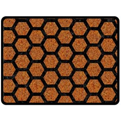 Hexagon2 Black Marble & Rusted Metal Double Sided Fleece Blanket (large)  by trendistuff
