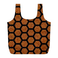 Hexagon2 Black Marble & Rusted Metal Full Print Recycle Bags (l)  by trendistuff