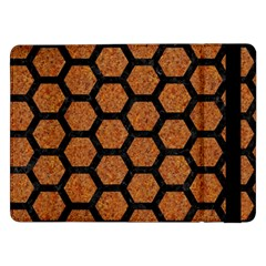 Hexagon2 Black Marble & Rusted Metal Samsung Galaxy Tab Pro 12 2  Flip Case by trendistuff