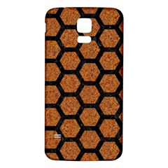 Hexagon2 Black Marble & Rusted Metal Samsung Galaxy S5 Back Case (white) by trendistuff