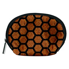 Hexagon2 Black Marble & Rusted Metal Accessory Pouches (medium)  by trendistuff