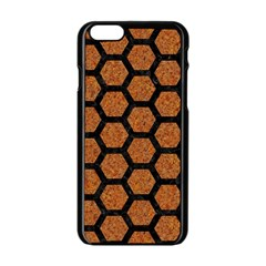 Hexagon2 Black Marble & Rusted Metal Apple Iphone 6/6s Black Enamel Case by trendistuff