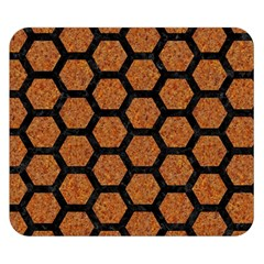 Hexagon2 Black Marble & Rusted Metal Double Sided Flano Blanket (small)  by trendistuff