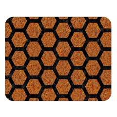 Hexagon2 Black Marble & Rusted Metal Double Sided Flano Blanket (large)  by trendistuff