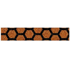 Hexagon2 Black Marble & Rusted Metal Flano Scarf (large)