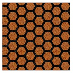 Hexagon2 Black Marble & Rusted Metal Large Satin Scarf (square)