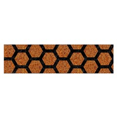 Hexagon2 Black Marble & Rusted Metal Satin Scarf (oblong) by trendistuff