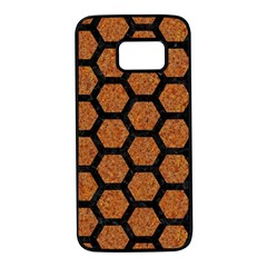 Hexagon2 Black Marble & Rusted Metal Samsung Galaxy S7 Black Seamless Case by trendistuff