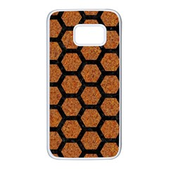 Hexagon2 Black Marble & Rusted Metal Samsung Galaxy S7 White Seamless Case by trendistuff