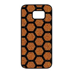 Hexagon2 Black Marble & Rusted Metal Samsung Galaxy S7 Edge Black Seamless Case by trendistuff