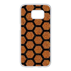 Hexagon2 Black Marble & Rusted Metal Samsung Galaxy S7 Edge White Seamless Case