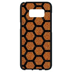 Hexagon2 Black Marble & Rusted Metal Samsung Galaxy S8 Black Seamless Case by trendistuff
