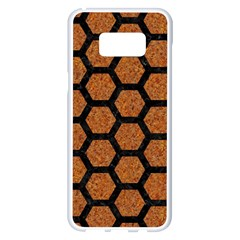 Hexagon2 Black Marble & Rusted Metal Samsung Galaxy S8 Plus White Seamless Case by trendistuff