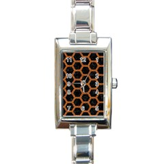 HEXAGON2 BLACK MARBLE & RUSTED METAL (R) Rectangle Italian Charm Watch