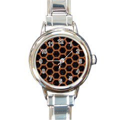HEXAGON2 BLACK MARBLE & RUSTED METAL (R) Round Italian Charm Watch