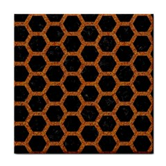 HEXAGON2 BLACK MARBLE & RUSTED METAL (R) Tile Coasters