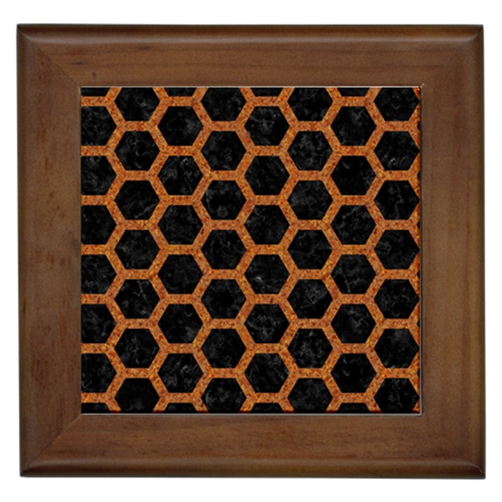 HEXAGON2 BLACK MARBLE & RUSTED METAL (R) Framed Tiles