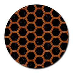 HEXAGON2 BLACK MARBLE & RUSTED METAL (R) Round Mousepads