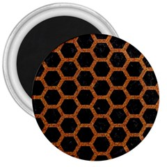 HEXAGON2 BLACK MARBLE & RUSTED METAL (R) 3  Magnets