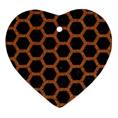 HEXAGON2 BLACK MARBLE & RUSTED METAL (R) Ornament (Heart)