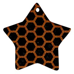 HEXAGON2 BLACK MARBLE & RUSTED METAL (R) Ornament (Star)